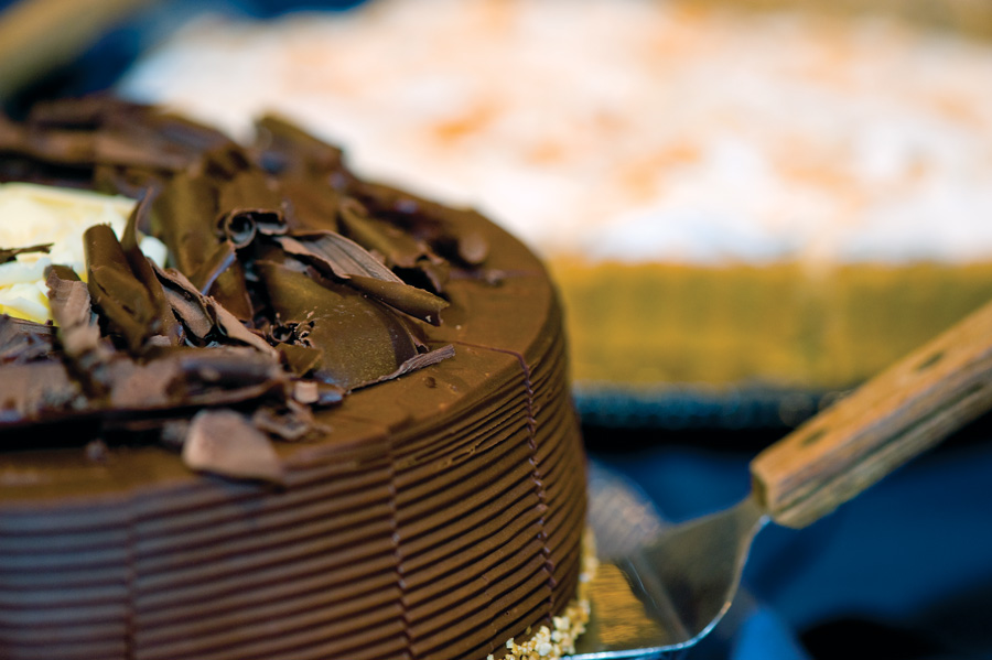 close up of gourmet chocolate cake