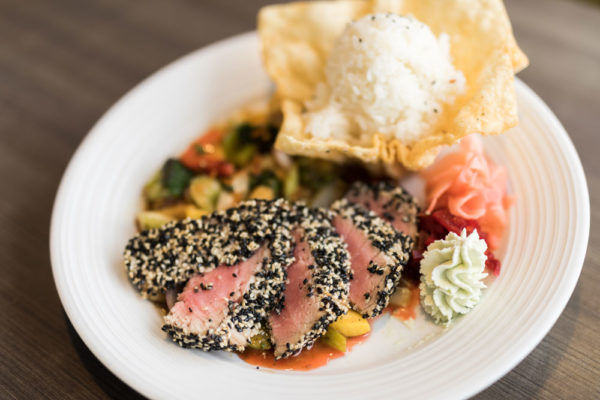 seared ahi tuna with white rice