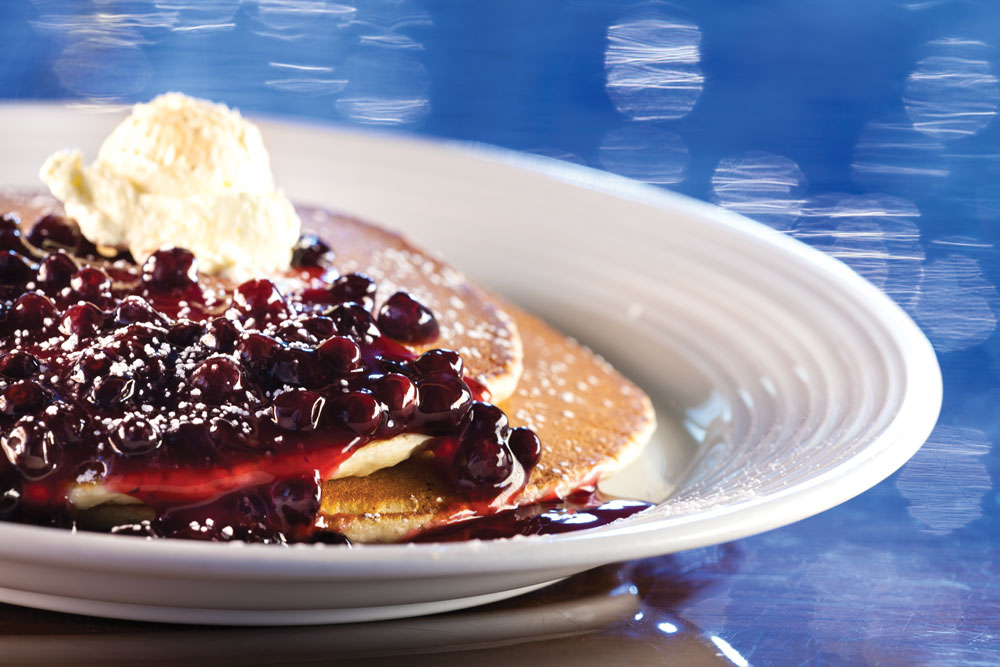 closeup of huckleberry pancakes